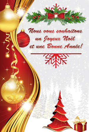 French Greeting card 2017 for winter holiday.  We wish you Merry Christmas and a Happy New Year (French text: Nous vous souhaitons un Joyeux Noel et une Bonne Annee). Print colors used