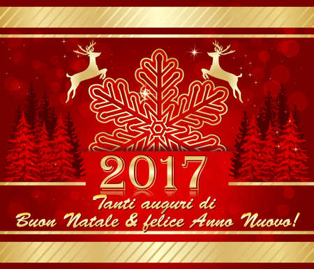 buon: Italian winter greeting card : We wish you Merry Christmas and Happy New Year :  Tanti auguri di Buon Natale & felice Anno Nuovo! Stock Photo