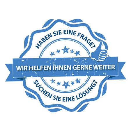 German Expert stamp. Do you have a question or you are looking for a solution? We can help you! (Haben Sie eine Frage? Suchen Sie eine Losung? Wir Helfen Ihnen gerne weiter). Print colors used