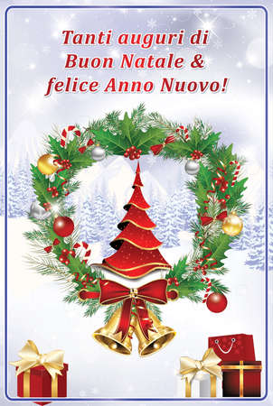 italian greeting card we wish you merry christmas and happy stock photo picture and royalty free image image 66260752 - Italian For Merry Christmas
