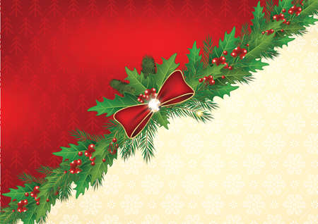 Winter celebration background with snowflakes, holly berries and fir branches. Print colors used. Format A3. Stock Photo