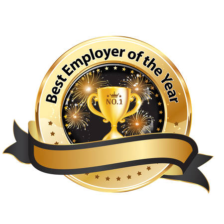 Best Employer of the year - business shiny ribbon award  decoration for companies.