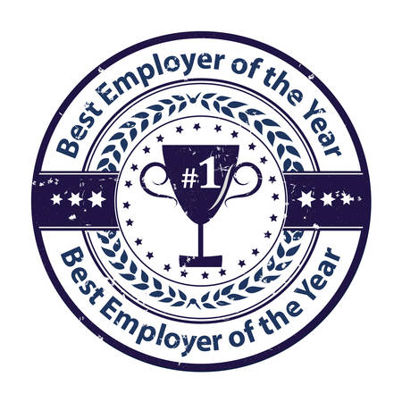 distinction: Best Employer of the year - business grunge award label  stamp. Blue color distinction with champions cup. Print colors used