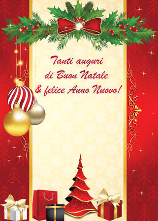 buon: Italian elegant greeting card for winter holiday. We wish you Merry Christmas and Happy New Year - Italian language: Tanti auguri di Buon Natale & felice Anno Nuovo.  Print colors used. Custom size Stock Photo