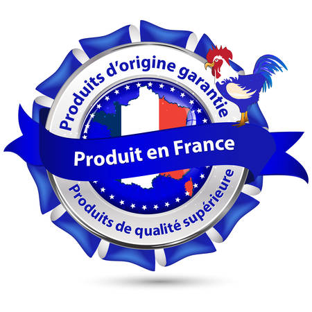 superior: Made in France, Origin Guarantee, Quality superior product - French stamp (Produit en France, Produits dorigine garantie, Produits de Qualite superieure) - blue ribbon with rooster (French symbol) Illustration