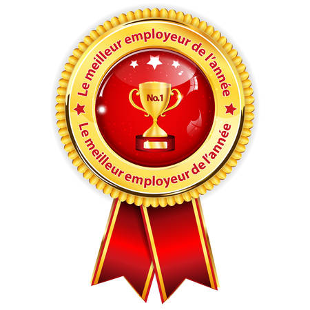 employers: Best Employer of the year 2016 (French language: Le meilleur employeur de lannee 2016) - business elegant icon  ribbon award distinction for companies. Illustration