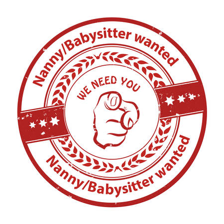 job opportunity: Nanny  Babysitter wanted, We need you -  job opportunity red badge  sticker  label. Print colors used Illustration
