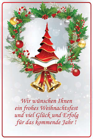 겨울에 대 한 비즈니스 독일어 인사말 카드입니다. 독일어 텍스트 번역 : 우리는 당신에게 즐거운 성탄절과 내년을위한 모든 일을 기원합니다. 본문은  스톡 콘텐츠
