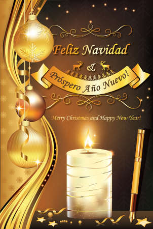 Spanish greeting card for winter holiday (Merry Christmas and Happy New Year - Feliz Navidad & Prospero Ano Nuevo). Print colors used. Size of a custom printable card. Zdjęcie Seryjne