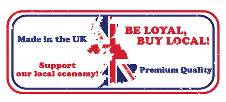 faithful: Made in UK, Be loyal, buy local. Support our local economy, Premium quality - grunge business stamp with the map and flag of the United Kingdom on the background. Print colors used
