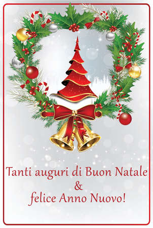 italian winter holiday greeting card merry christmas and happy stock photo picture and royalty free image image 66290328