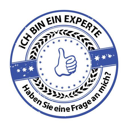 私は専門家であります。何か質問はありますか。(Ich bin ein experte。Sie eine Fragen、mich?)-グランジ青いドイツのスタンプ。使用されている印刷の色  イラスト・ベクター素材