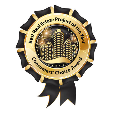 consumers: Best Real Estate Project of the Year, Consumers Choice Award - elegant business Real Estate award ribbon