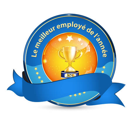 employers: Best Employer of the year (French language: Le meilleur employeur de lannee) - business elegant icon  ribbon award distinction for companies.