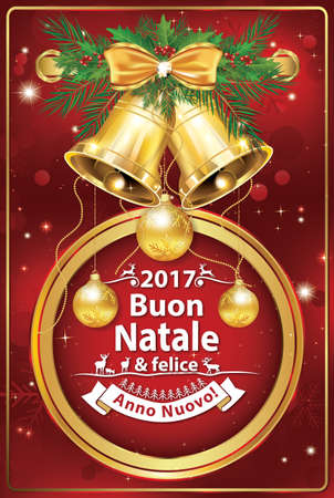 italian seasons greetings winter holiday greeting card merry christmas and happy new year
