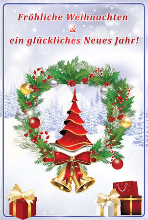 greeting card for the new year with text in german language we wish you merry