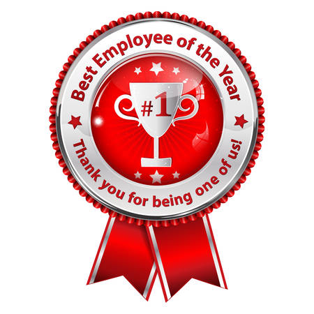 distinction: Best employer of the year. Thank you for being one of us! business award ribbon. Metallic red colors distinction with champions cup. Illustration