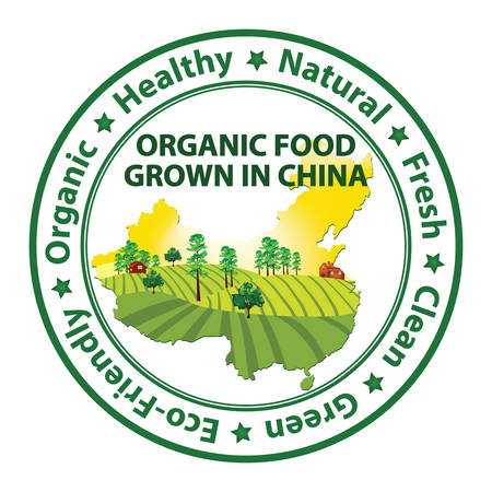 mapa de china: alimentos orgánicos cultivados en China - sello con el mapa chino