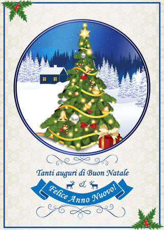 buon: Italian seasons greetings for winter holiday (Merry Christmas and Happy New Year - Tanti auguri di Buon Natale & felice Anno Nuovo). Print colors used. Size of a custom printable card.