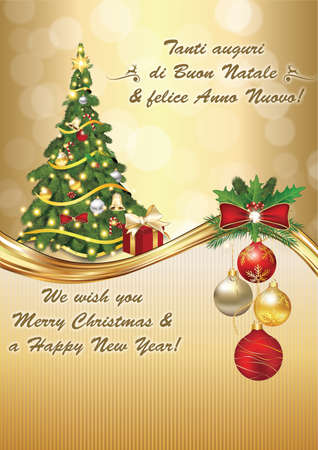 buon: Italian seasons greetings - winter holiday greeting card. Merry Christmas and Happy New Year (Italian language: Buon Natale & felice Anno Nuovo!). Print colors used. Size of a custom greeting card Stock Photo