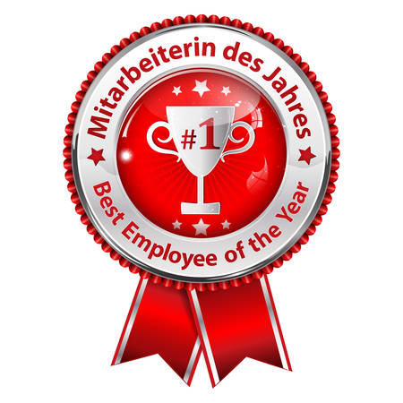 employers: Best Employee of the Year (German language: Mitarbeiter des Jahres) - business distinction  award ribbon in German and English, for companies