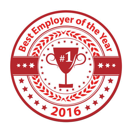 distinction: Best Employer of the year 2016 - business grunge award label  stamp. Red color distinction with champions cup. Print colors used