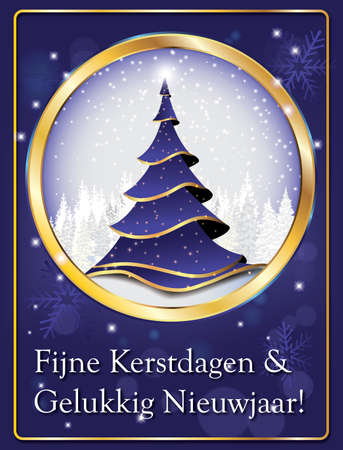 dutch elegant greeting card for winter season merry christmas and happy new year fijne