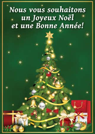 Frohe weihnachten und gutes neues jahr auf franzosisch
