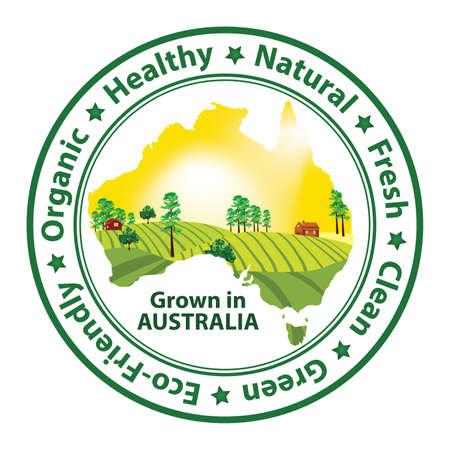 australia stamp: Organic food grown in Australia - stamp with the Australian map Stock Photo