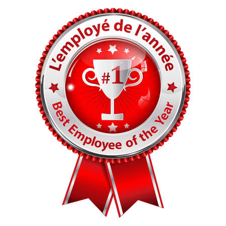 Employee of the Year (French language: Lemploye de lannee) - metallic red award ribbon Stock Photo
