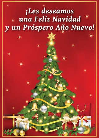 nuevo: Spanish seasons greetings - Christmas & New Year card (Les deseamos Feliz Navidad y un Prospero Feliz Ano Nuevo) - We wish you Merry Christmas and Happy New Year! Print colors used.