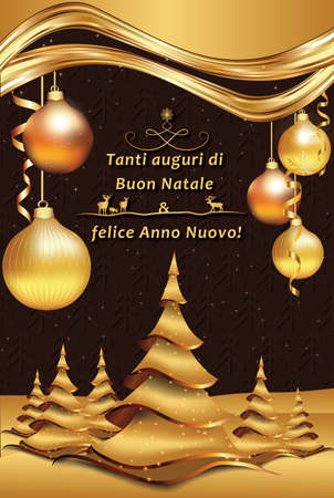 buon: Merry Christmas and Happy New Year! - Italian greeting card (Tanti auguri di Buon Natale e felice Anno Nuovo!). Printable Seasons Greetings Card. Stock Photo