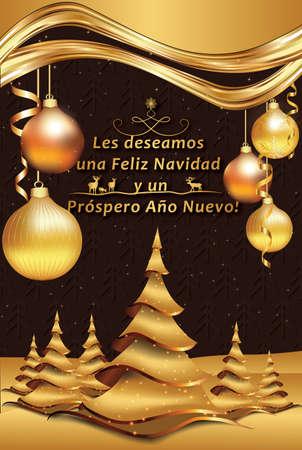 nuevo: Spanish Greeting card for New Year (Les deseamos Feliz Navidad y Feliz Ano Nuevo) - We wish you Merry Christmas and Happy New Year. Print colors used. Size of a custom greeting card.