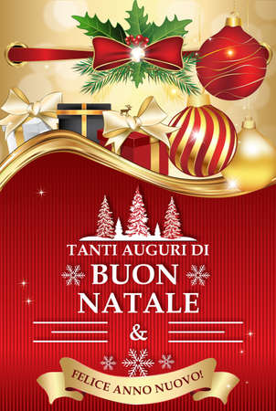 buon: Italian greeting card for winter holiday (Merry Christmas and Happy New Year - Tanti auguri di Buon Natale & felice Anno Nuovo). Print colors used. Size of a custom printable card. Stock Photo