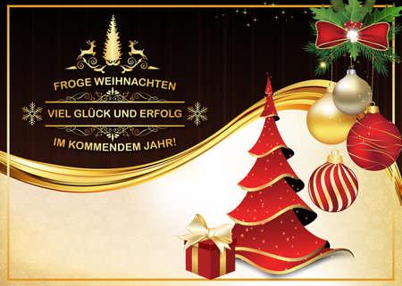 German greeting card: We wish you Merry Christmas and Happy New Year: Wir wunschen Ihnen Frohe Weihnachten und ein Gluckliches Neues Jahr, for winter holiday. Print colors used. Custom size Stock Photo