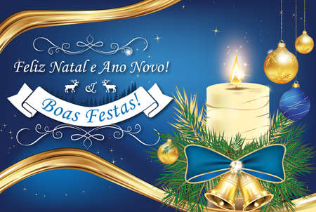 boas: Feliz Natal e  Ano Novo! Boas Festas! (Merry Christmas and Happy New Year, Happy Holiday) - Portuguese corporate greeting card with Christmas decorations. Print colors used. Size of a custom postcard Stock Photo