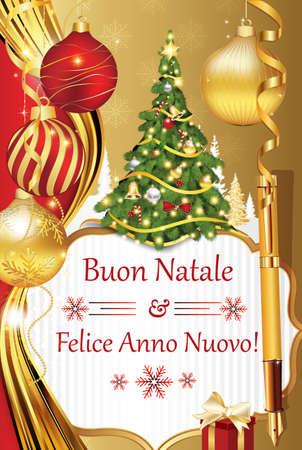 buon: Buon Natale e felice Anno Nuovo! - New Year wishes in Italian language (Merry Christmas and Happy New Year!) - Printable Seasons Greetings Card. Contains Christmas decorations: tree, baubles.