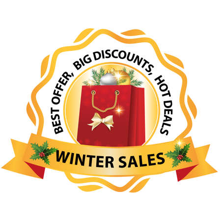 Printable Winter Sales, Best offer, Big Discounts, Hot Deals Label  Stamp. Contains a shopping bag with Christmas decorations. Print colors.
