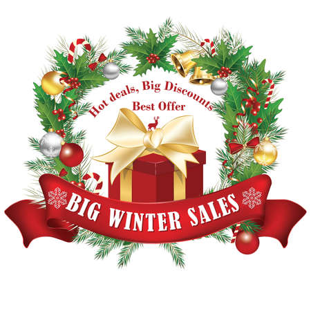 Printable Big Winter Sales, Hot Deals, Big Discounts, Best Offer Label  Stamp. Contains a gift box with Christmas decorations. Print colors. Stock Photo