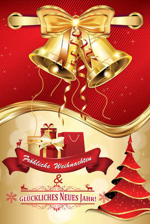 Frohliche Weihnachten und Gluckliches Neues Jahr! - German greeting card for Christmas and New Year. Merry Christmas and Happy New Year. Print colors used. Elegant postcard with Christmas decoration Stock Photo