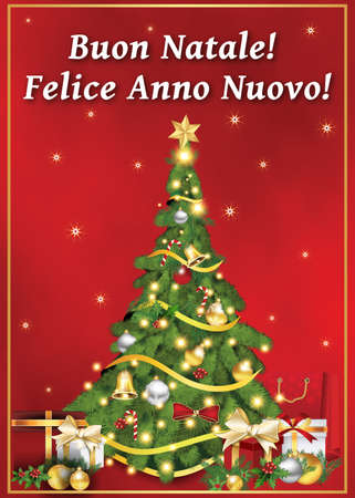 anno: Buon Natale! Felice Anno Nuovo! Italian greeting card for winter holiday (Merry Christmas! Happy New Year! ). Print colors used. Size of a custom printable card.