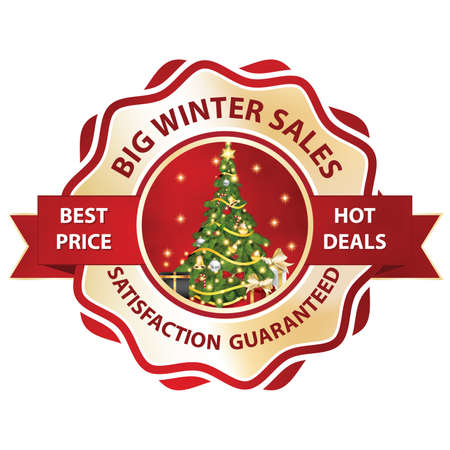 Big winter sales, Satisfaction guaranteed. Best price, hot deals - printable stamp  label. Contains a Christmas tree with gift boxes. Print colors.
