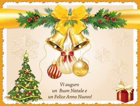 Vi auguro un Buon Natale e un Felice Anno Nuovo! - Italian seasons greeting for winter holidays (We wish you Merry Christmas and Happy New Year!) - printable greeting card with Christmas tree.