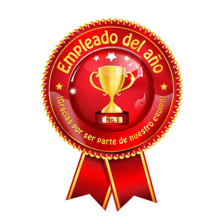 best employee: Employee of the Year (Spanish language: Empleado del Ano) - golden red award ribbon  distinction for business purposes. Recognition gifts & appreciation gifts