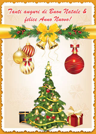 buon: Classic Italian message for winter holidays: Tanti auguri di Buon Natale & felice Anno Nuovo - Merry Christmas and Happy New Year!  greeting card, also for print