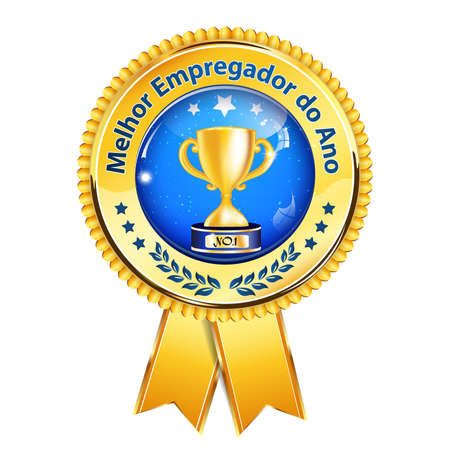 distinction: Best employer of the year (Melhor Empregador Do Ano) - award ribbon with Champions cup. Portuguese distinction for business purposes. Recognition gifts & appreciation gifts Stock Photo