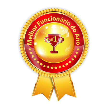 distinction: Best employee of the Year - Portuguese award ribbon  distinction (Melhor functionario do Ano). Portuguese distinction for business purposes. Recognition gifts & appreciation gifts for employees