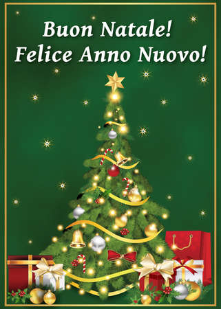 italian greeting card for winter holiday text translation merry christmas and happy new year - Merry Christmas In Italian Translation