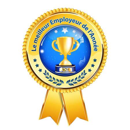 distinction: The best employer of the year (French language: Le meilleur employeur de lannee) - business elegant icon  ribbon award distinction for companies. Illustration