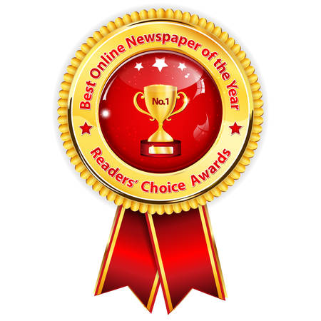 Best online newspaper of the year, Readers Choice Awards - golden red award ribbon Illustration